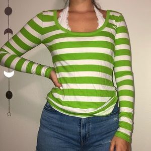 Green and white striped long sleeve